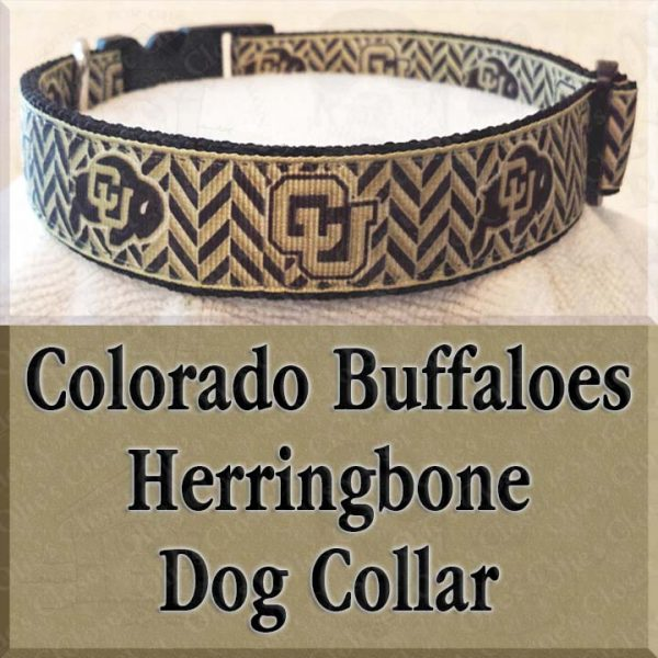 Colorado Buffaloes Herringbone Dog Collar Product Image No1