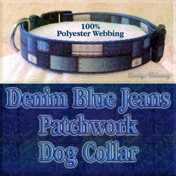 Patchwork Denim Blue Jeans Faux Look Designer Polyester Webbing Dog Collar Product Image No2