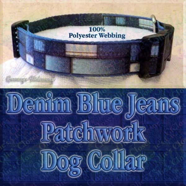 Patchwork Denim Blue Jeans Faux Look Designer Polyester Webbing Dog Collar Product Image No4