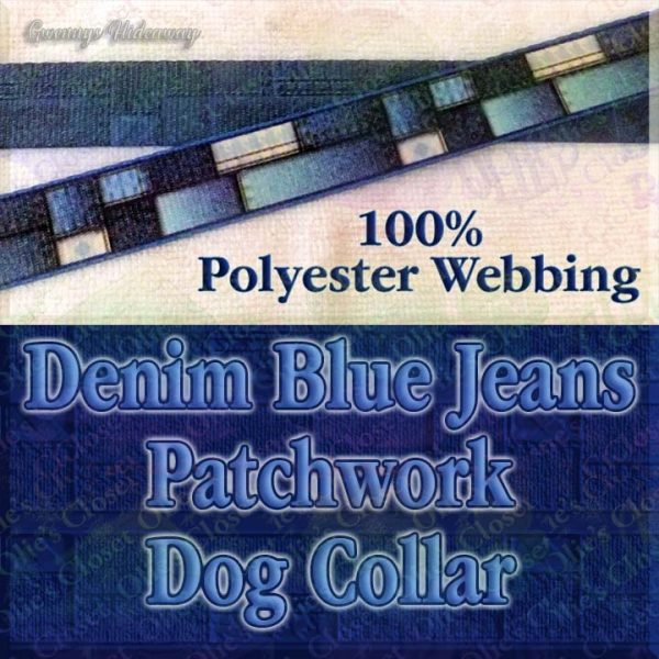 Patchwork Denim Blue Jeans Faux Look Designer Polyester Webbing Dog Collar Product Image No3