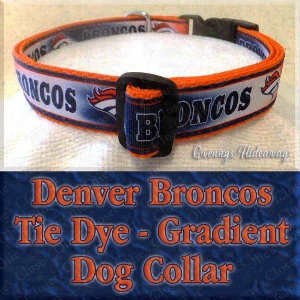 Denver Broncos Tie Dye Gradient Dog Collar Product Image No1