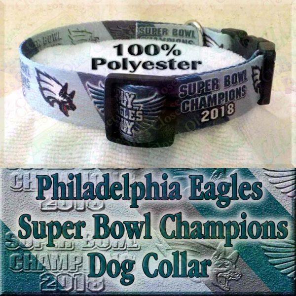 Underdog Philadelphia Eagles Super Bowl Champions 2018 Fly Eagles Fly Polyester Webbing Designer Dog Collar Product Image No2