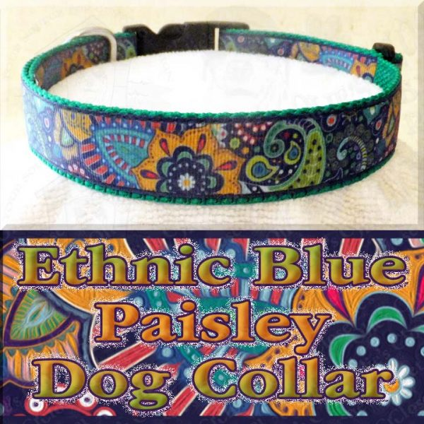 Ethnic Blue Paisley Dog Collar Product Image No1