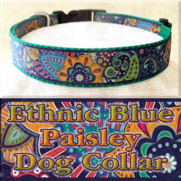 Ethnic Blue Paisley Dog Collar Product Image No1