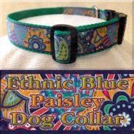Ethnic Blue Paisley Dog Collar Product Image No2