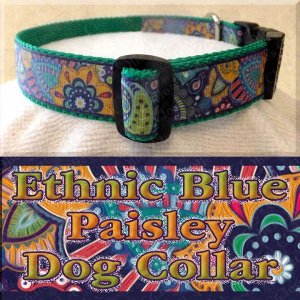 Ethnic Blue Paisley Dog Collar Product Image No2