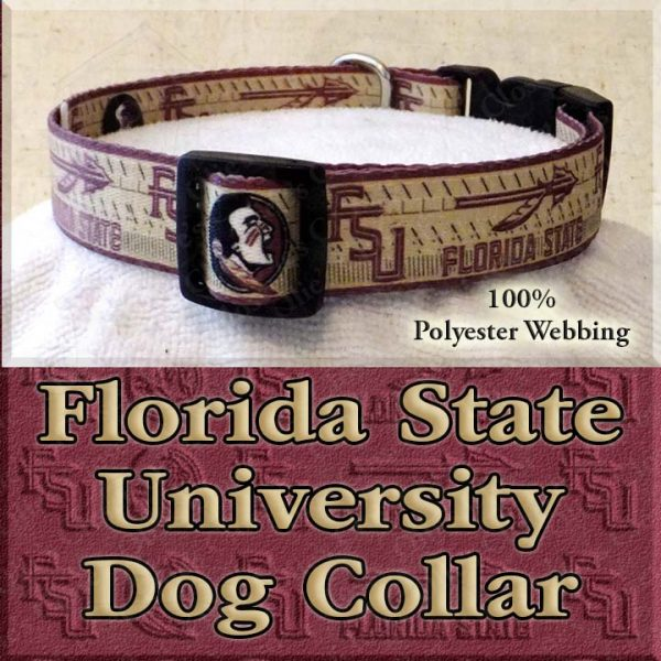 Florida State University Seminoles Polyester Webbing Designer Dog Collar Product Image No1