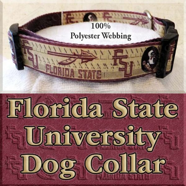 Florida State University Seminoles Polyester Webbing Designer Dog Collar Product Image No3