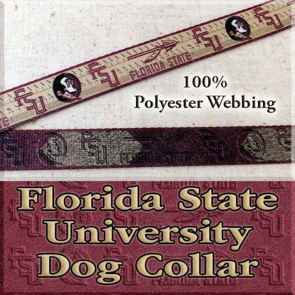Florida State University Seminoles Polyester Webbing Designer Dog Collar Product Image No2