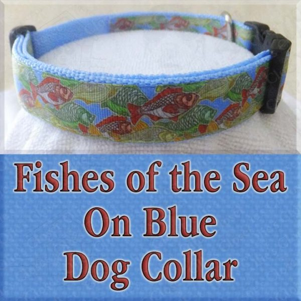Fishes of the Sea on Blue Dog Collar Product Image No1