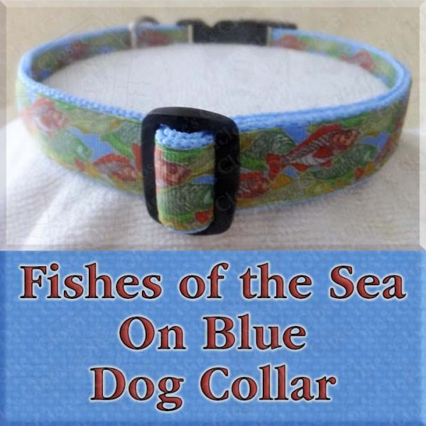 Fishes of the Sea on Blue Dog Collar Product Image No2