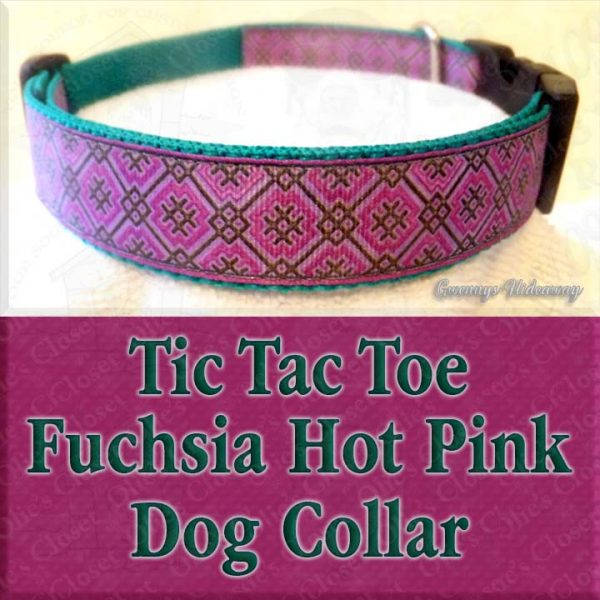 Fuchsia Hot Pink Tic Tac Toe Designer Dog Collar Product Image No1