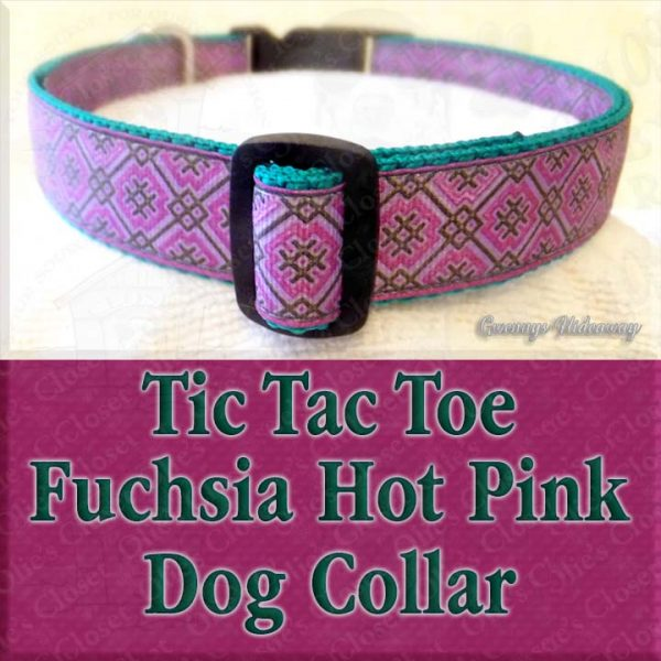 Fuchsia Hot Pink Tic Tac Toe Designer Dog Collar Product Image No2