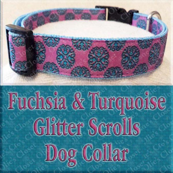 Fuschia Turquoise Glitter Scrolls Dog Collar Product Image No1