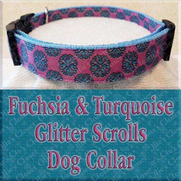 Fuschia Turquoise Glitter Scrolls Dog Collar Product Image No2