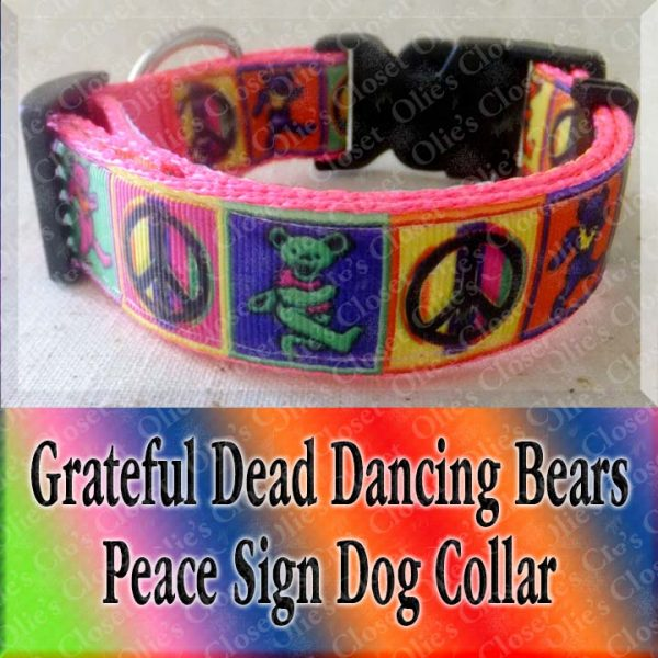 Peace Signs Grateful Dead Dancing Bears Neon Webbing 5 Color Choices Designer Dog Collar Product Image No2