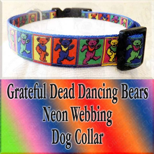 Colorful Squares Grateful Dead Dancing Bears Designer Dog Collar Product Image No3