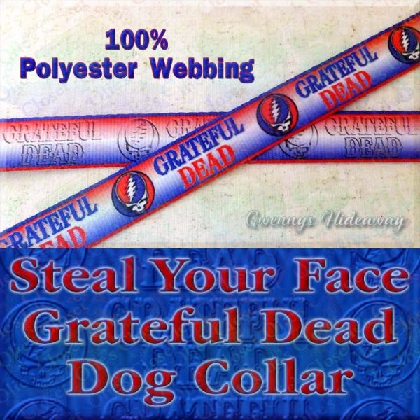 Grateful Dead Steal My Face Polyester Webbing Designer Dog Collar Product Image No1