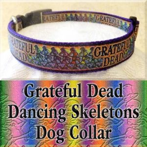 Grateful Dead Dancing Skeletons Designer Dog Collar Product Image No1