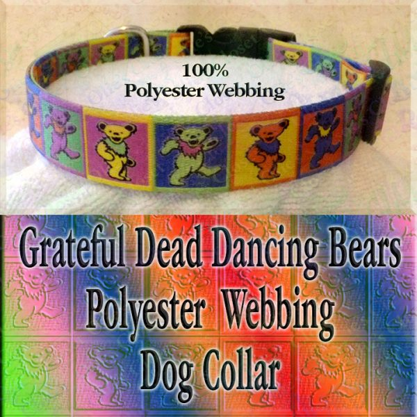 Grateful Dead Colorful Squares Polyester Webbing Designer Dog Collar Product Image No1