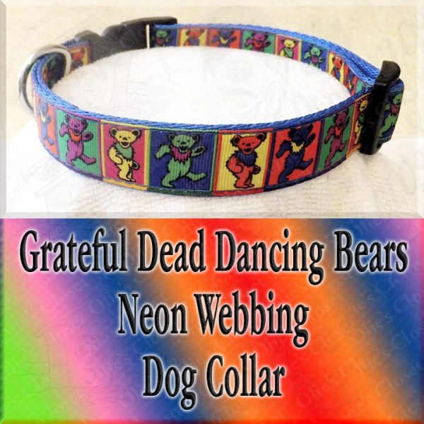 Colorful Squares Grateful Dead Dancing Bears Designer Dog Collar Product Image No2
