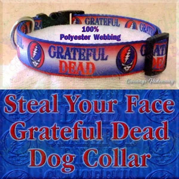 Grateful Dead Steal My Face Polyester Webbing Designer Dog Collar Product Image No3