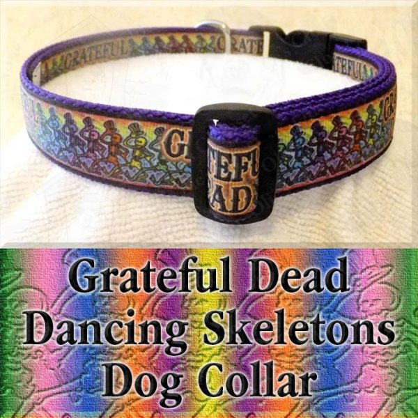 Grateful Dead Dancing Skeletons Designer Dog Collar Product Image No3