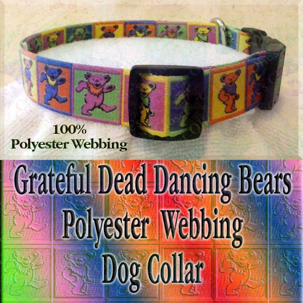 Grateful Dead Colorful Squares Polyester Webbing Designer Dog Collar Product Image No3