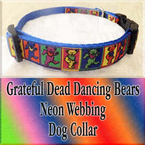 Colorful Squares Grateful Dead Dancing Bears Designer Dog Collar Product Image No1