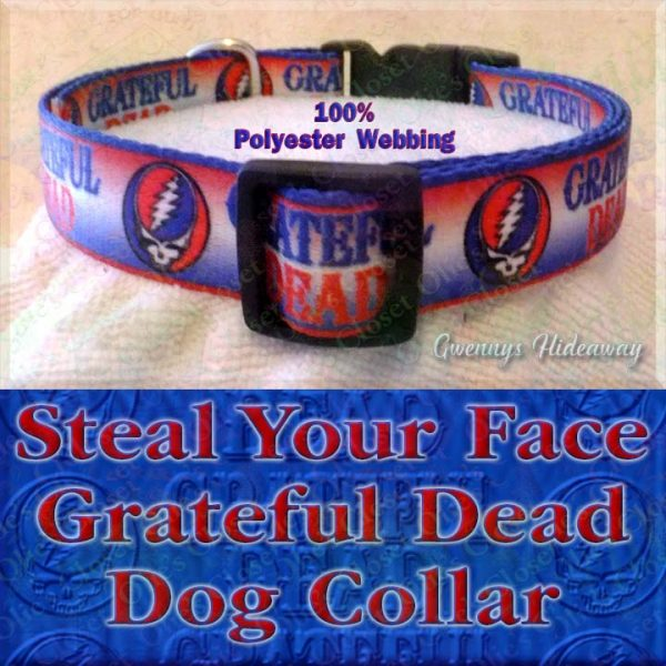 Grateful Dead Steal My Face Polyester Webbing Designer Dog Collar Product Image No2