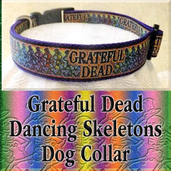 Grateful Dead Dancing Skeletons Designer Dog Collar Product Image No2