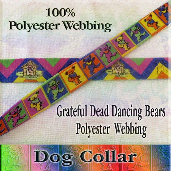 Grateful Dead Colorful Squares Polyester Webbing Designer Dog Collar Product Image No2
