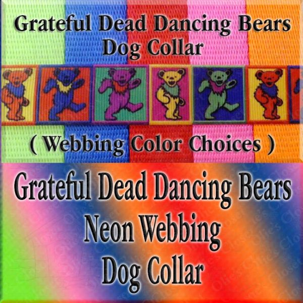 Colorful Squares Grateful Dead Dancing Bears Neon Webbing Designer Dog Collar Product Image No4