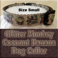 Glitter Monkey Loves Coconuts Bananas Small Dog Collar Product Image No1