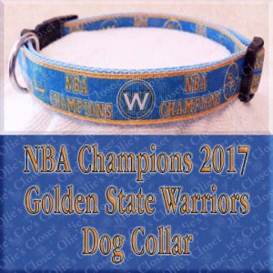Golden State Warriors NBA Champions 2017 Designer Dog Collar Product Image No1
