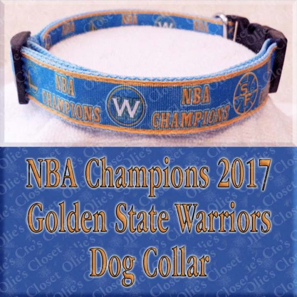 Golden State Warriors NBA Champions 2017 Designer Dog Collar Product Image No2