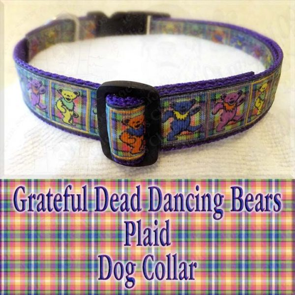 Grateful Dead Dancing Bears PLAID Designer Dog Collar Product Image No1