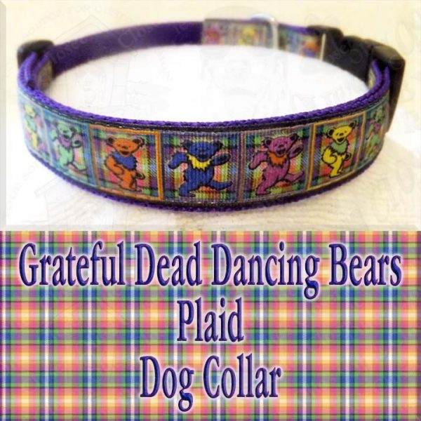Grateful Dead Dancing Bears PLAID Designer Dog Collar Product Image No2