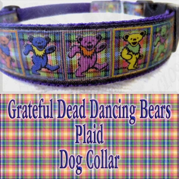 Grateful Dead Dancing Bears PLAID Designer Dog Collar Product Image No3