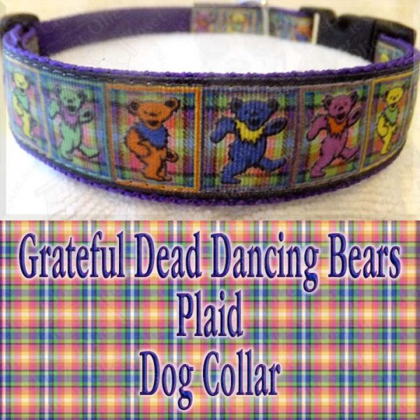 Grateful Dead Dancing Bears PLAID Designer Dog Collar Product Image No4