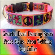 Peace Signs Grateful Dead Dancing Bears Neon Webbing 5 Color Choices Designer Dog Collar Product Image No1