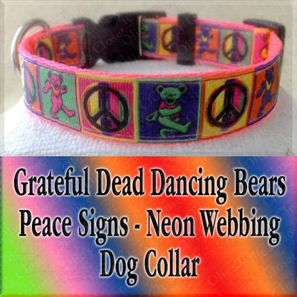 Peace Signs Grateful Dead Dancing Bears Neon Webbing 5 Color Choices Designer Dog Collar Product Image No6
