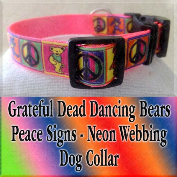 Peace Signs Grateful Dead Dancing Bears Neon Webbing 5 Color Choices Designer Dog Collar Product Image No5