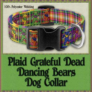 Grateful Dead Plaid Dancing Bears Designer Dog Collar Product Image No1