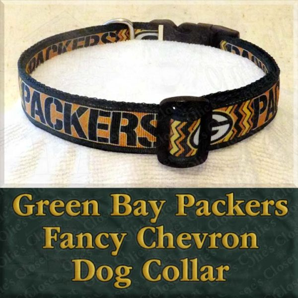 Green Bay Packers Fancy Chevron Dog Collar Product Image No2