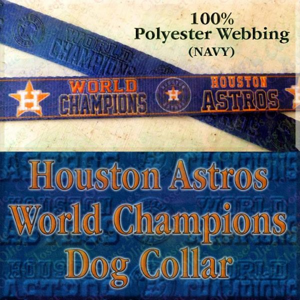 Houston Astros World Champions Navy Blue Polyester Webbing Designer Dog Collar Product Image No1