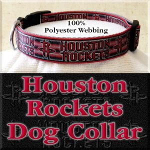 Houston Rockets Basketball Polyester Webbing Designer Dog Collar Product Image No3
