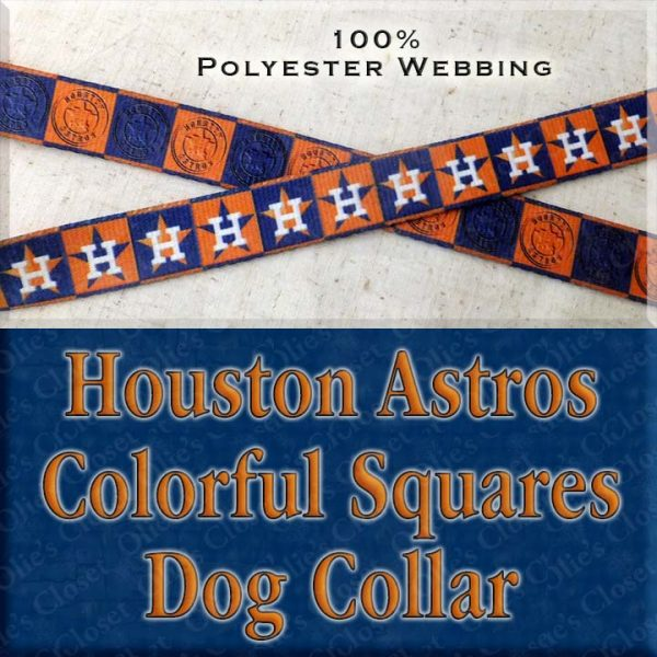 Houston Astros H Logo Orange Navy Squares Polyester Webbing Designer Dog Collar Product Image No2