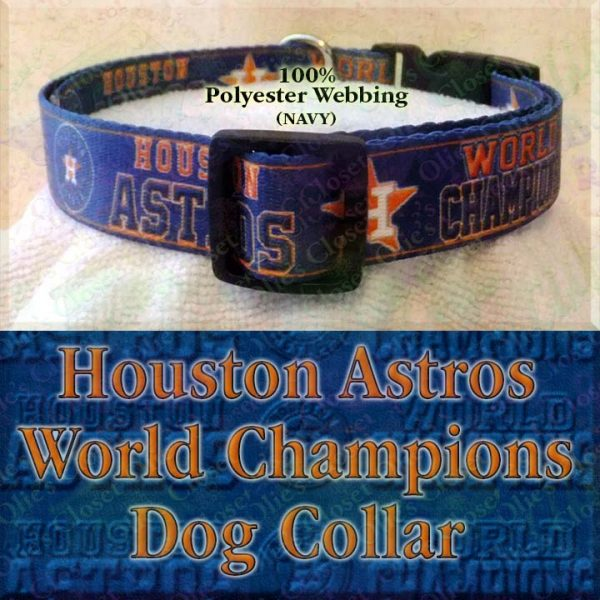 Houston Astros World Champions Navy Blue Polyester Webbing Designer Dog Collar Product Image No2