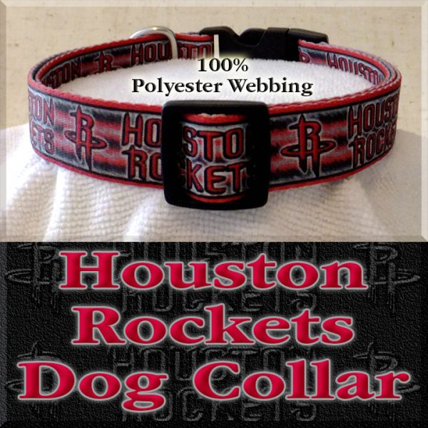 Houston Rockets Basketball Polyester Webbing Designer Dog Collar Product Image No2
